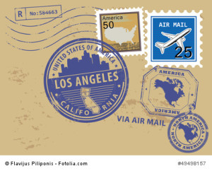 Grunge stamp set with name of California, Los Angeles, vector