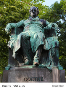 Statue of Goethe outside the Burggarten in downtown Vienna, Austria, Europe. This statue was made in 1900