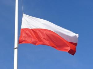 polish flag. half mast.