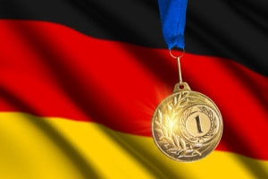 golden medal against German flag background