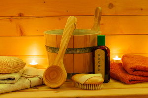 sauna interior and sauna accessories